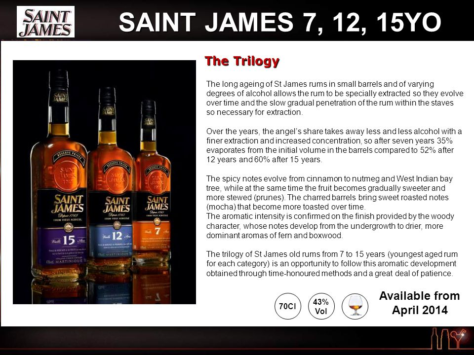 SAINT JAMES 7, 12, 15YO The Trilogy 43% Vol 70Cl Available from April 2014 The long ageing of St James rums in small barrels and of varying degrees of alcohol allows the rum to be specially extracted so they evolve over time and the slow gradual penetration of the rum within the staves so necessary for extraction.