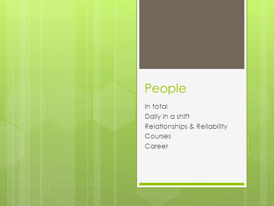 People In total Daily in a shift Relationships & Reliability Courses Career