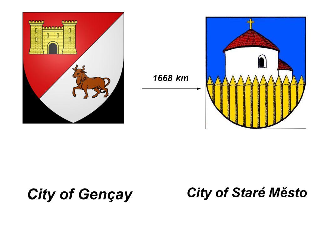 City of Gençay City of Staré Město 1668 km