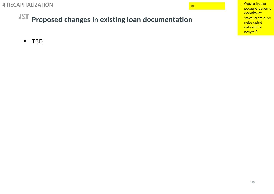 Proposed changes in existing loan documentation -Otázka je, zda pocesně budeme dodatkovat stávající smlouvy nebo uplně nahradíme novými? 4 RECAPITALIZ