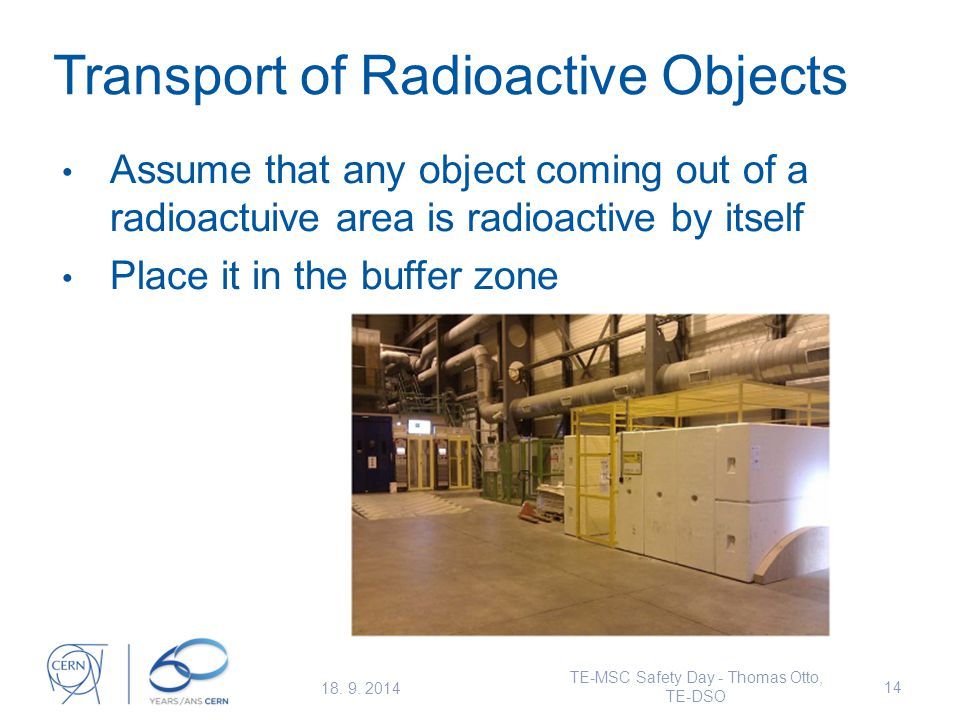 Transport of Radioactive Objects Assume that any object coming out of a radioactuive area is radioactive by itself Place it in the buffer zone 18.