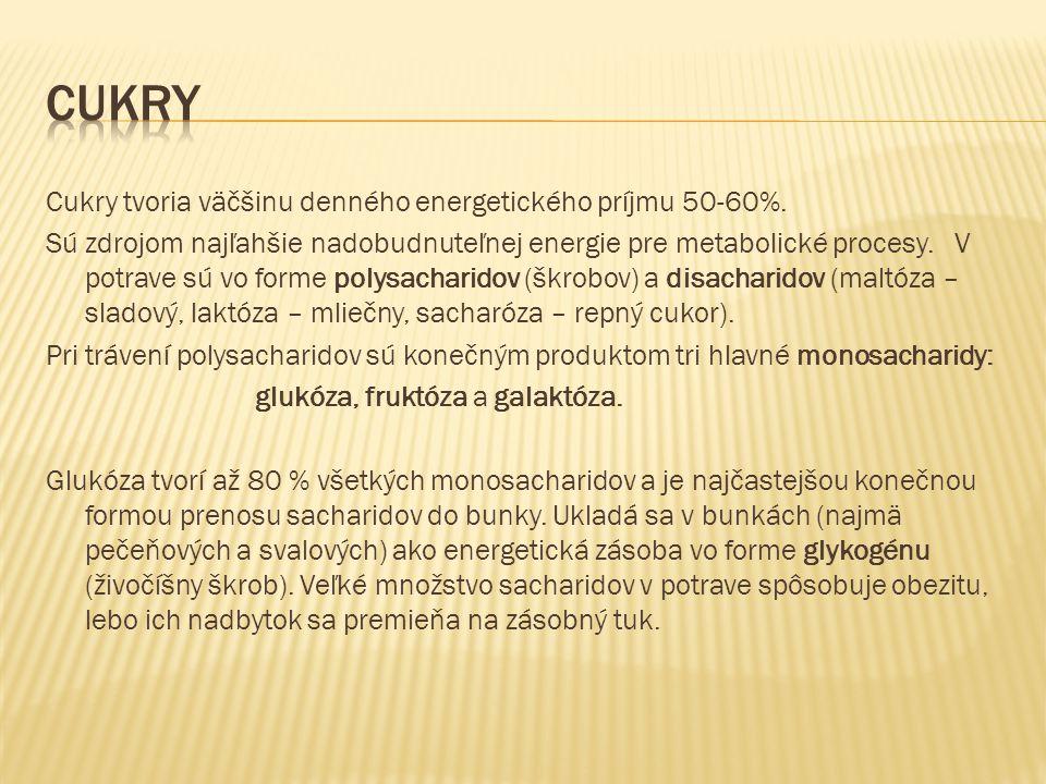 Cukry tvoria väčšinu denného energetického príjmu 50-60%.