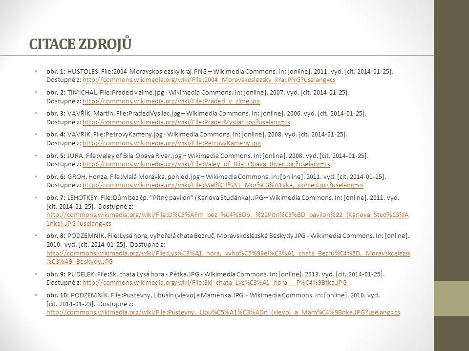 CITACE ZDROJŮ obr. 1: HUSTOLES. File:2004 Moravskoslezsky kraj.PNG – Wikimedia Commons. In: [online]. 2011. vyd. [cit. 2014-01-25]. Dostupné z: http:/