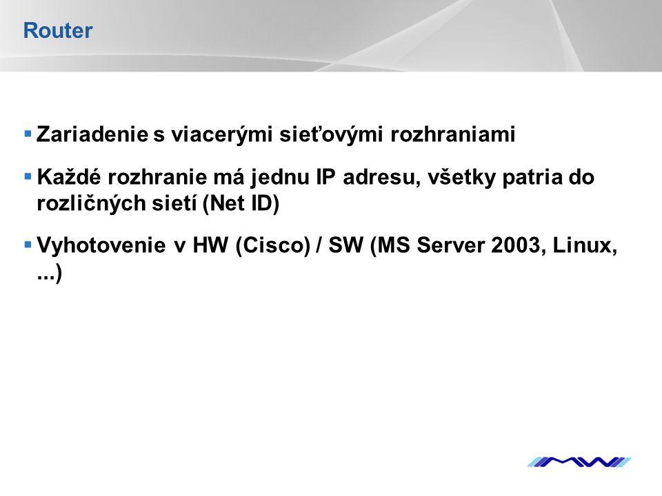 YOUR LOGO Router  Zariadenie s viacerými sieťovými rozhraniami  Každé rozhranie má jednu IP adresu, všetky patria do rozličných sietí (Net ID)  Vyhotovenie v HW (Cisco) / SW (MS Server 2003, Linux,...)
