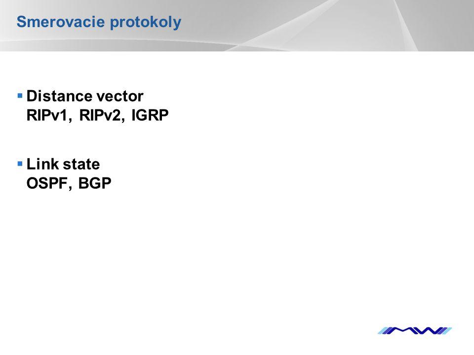 YOUR LOGO Smerovacie protokoly  Distance vector RIPv1, RIPv2, IGRP  Link state OSPF, BGP