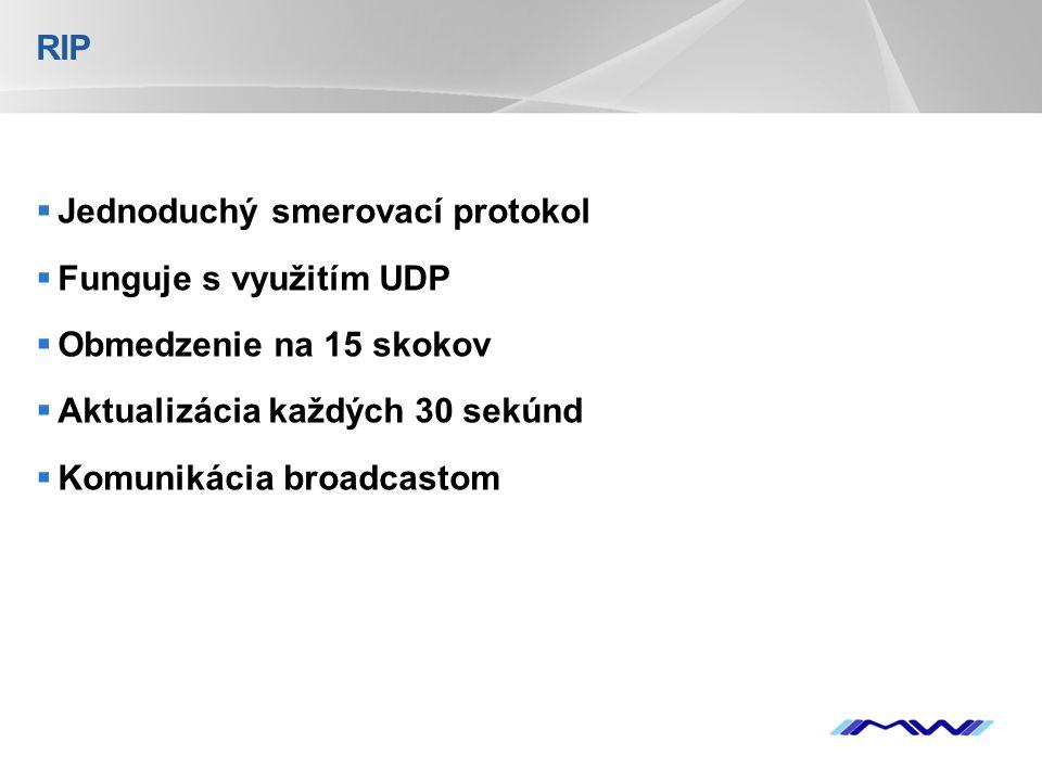 YOUR LOGO RIP  Jednoduchý smerovací protokol  Funguje s využitím UDP  Obmedzenie na 15 skokov  Aktualizácia každých 30 sekúnd  Komunikácia broadcastom