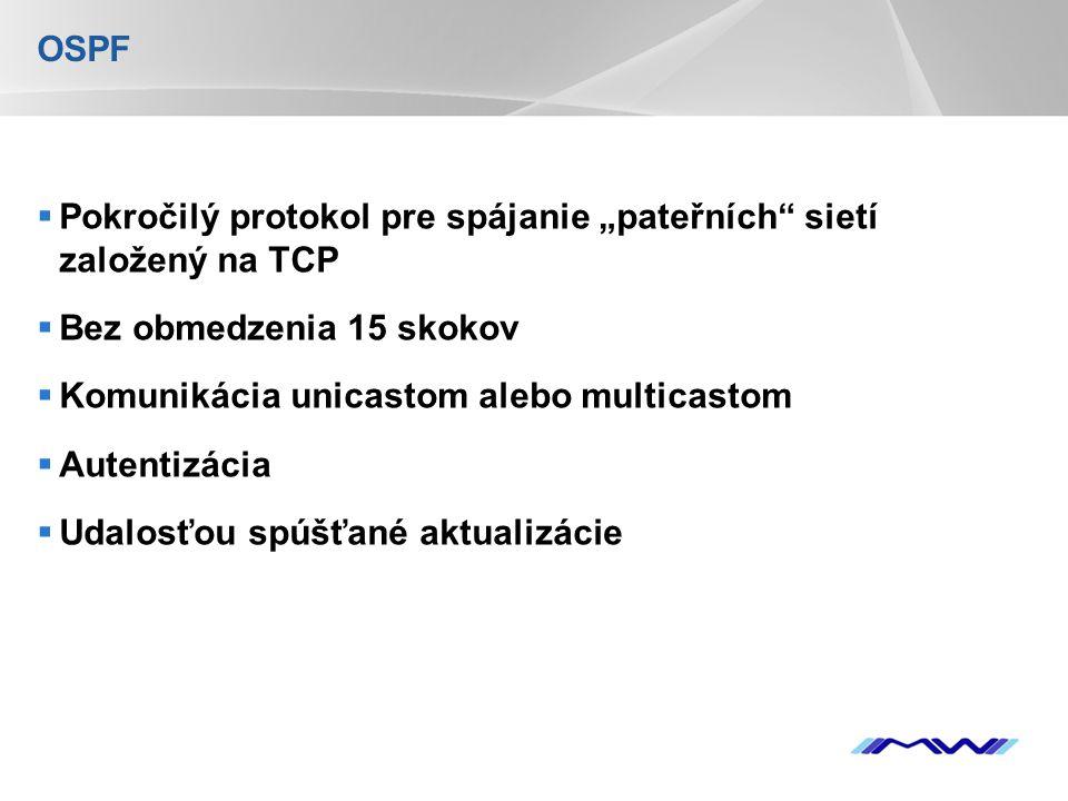"""YOUR LOGO OSPF  Pokročilý protokol pre spájanie """"pateřních sietí založený na TCP  Bez obmedzenia 15 skokov  Komunikácia unicastom alebo multicastom  Autentizácia  Udalosťou spúšťané aktualizácie"""