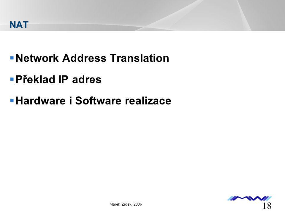 YOUR LOGO 18 Marek Žídek, 2006 NAT  Network Address Translation  Překlad IP adres  Hardware i Software realizace