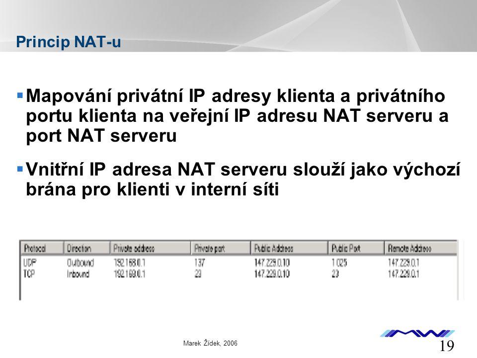 YOUR LOGO 19 Marek Žídek, 2006 Princip NAT-u  Mapování privátní IP adresy klienta a privátního portu klienta na veřejní IP adresu NAT serveru a port NAT serveru  Vnitřní IP adresa NAT serveru slouží jako výchozí brána pro klienti v interní síti