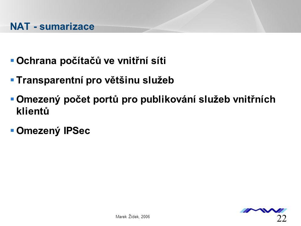 YOUR LOGO 22 Marek Žídek, 2006 NAT - sumarizace  Ochrana počítačů ve vnitřní síti  Transparentní pro většinu služeb  Omezený počet portů pro publikování služeb vnitřních klientů  Omezený IPSec