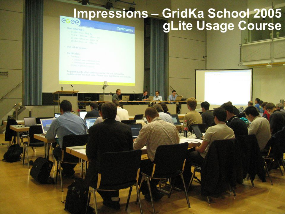 Enabling Grids for E-sciencE INFSO-RI-031688 4 Impressions – GridKa School 2005 gLite Usage Course