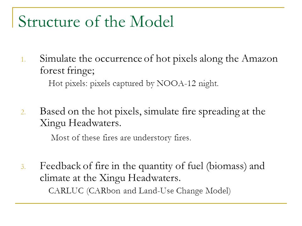 Structure of the Model 1. Simulate the occurrence of hot pixels along the Amazon forest fringe; Hot pixels: pixels captured by NOOA-12 night. 2. Based