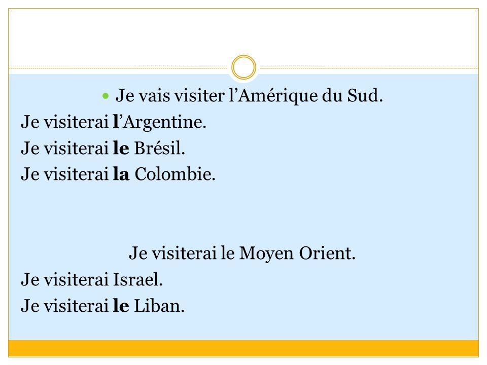 Je visiterai l'Afrique.Je visiterai l'Egypte. Je visiterai le Sénégal.