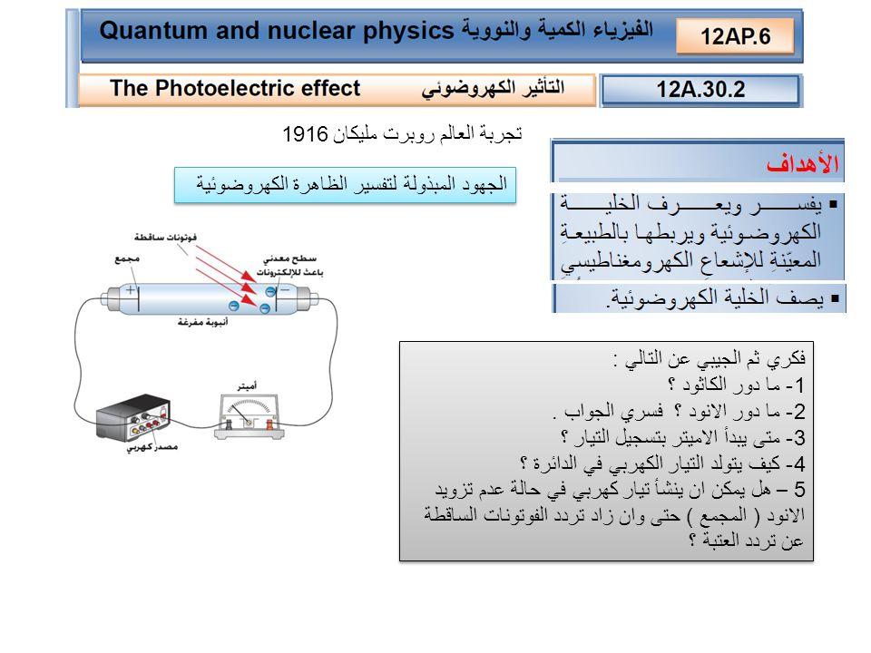 1- ما مقدار طاقة الحركة عندما : - كان تردد الضوء الساقط اقل من تردد العتبة ------------ - كان تردد الضوء الساقط = تردد العتبة ---------------- - كان تردد الضوء الساقط اكبر من تردد العتبة ---------- 2- ماذا يمثل ميل الخط البياني الناتج ؟ ---------------- نتائج تجربة مليكان