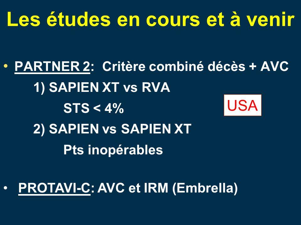 Les études en cours et à venir PARTNER 2: Critère combiné décès + AVC 1) SAPIEN XT vs RVA STS < 4% 2) SAPIEN vs SAPIEN XT Pts inopérables USA PROTAVI-C: AVC et IRM (Embrella)