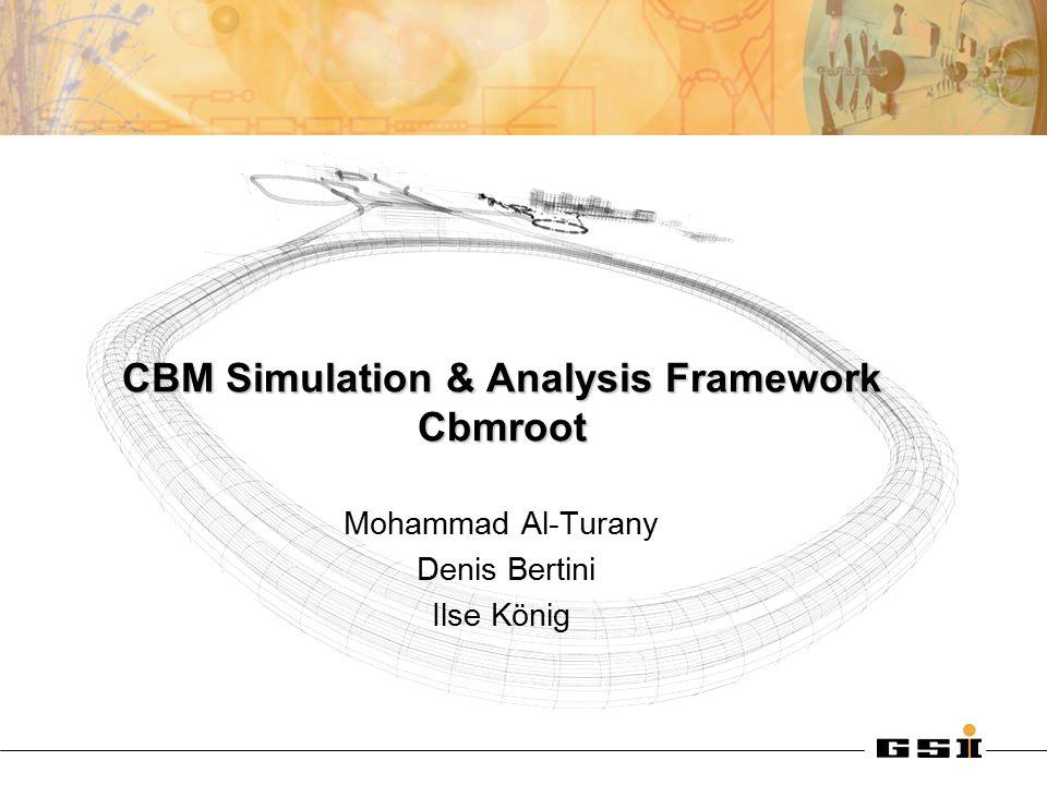 CBM Simulation & Analysis Framework Cbmroot Mohammad Al-Turany Denis Bertini Ilse König