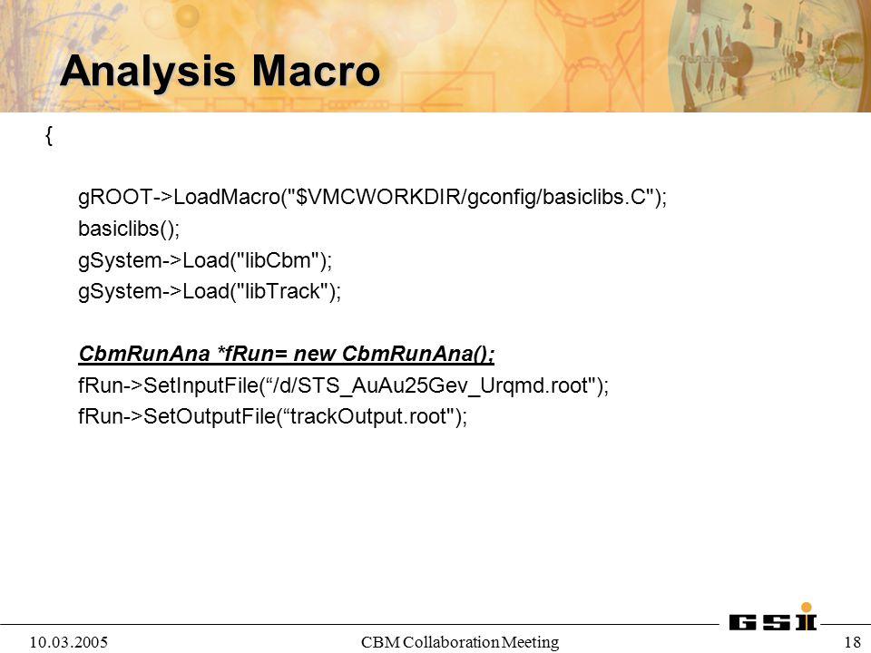 10.03.2005CBM Collaboration Meeting 18 Analysis Macro { gROOT->LoadMacro(