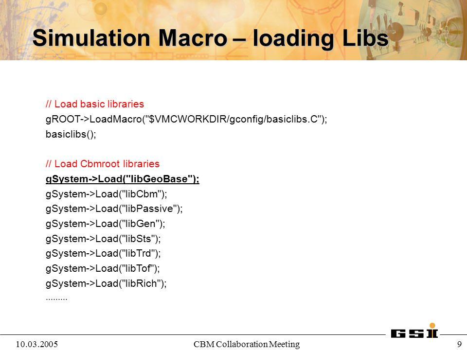 10.03.2005CBM Collaboration Meeting 9 Simulation Macro – loading Libs // Load basic libraries gROOT->LoadMacro(