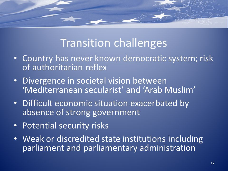Transition challenges Country has never known democratic system; risk of authoritarian reflex Divergence in societal vision between 'Mediterranean secularist' and 'Arab Muslim' Difficult economic situation exacerbated by absence of strong government Potential security risks Weak or discredited state institutions including parliament and parliamentary administration 12