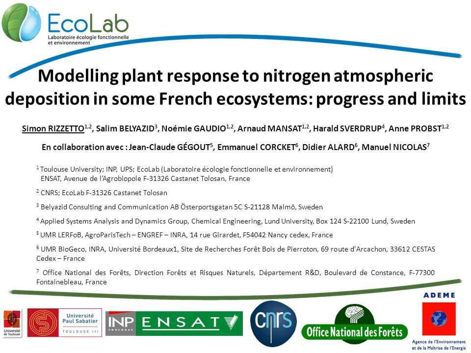 24 TH CCE W ORKSHOP AND 30 TH T ASK F ORCE M EETING / Simon RIZZETTO Rome, 7 th April 2014 2 Context Improvement of the modelling approach EUNIS habitats classification  final goals = to formulate nitrogen dose-response relationships at a regional scale to upscale from individual sites to quantify no net loss of biodiversity Plants ecological response, biodiversity indicators Coupled biogeochemical – ecological modelling Impact of atmospheric deposition scenarios on forest ecosystems VEG table Species richness National scale ICP forest network ForSAFE-VEG model improvement of input data climate change scenarios