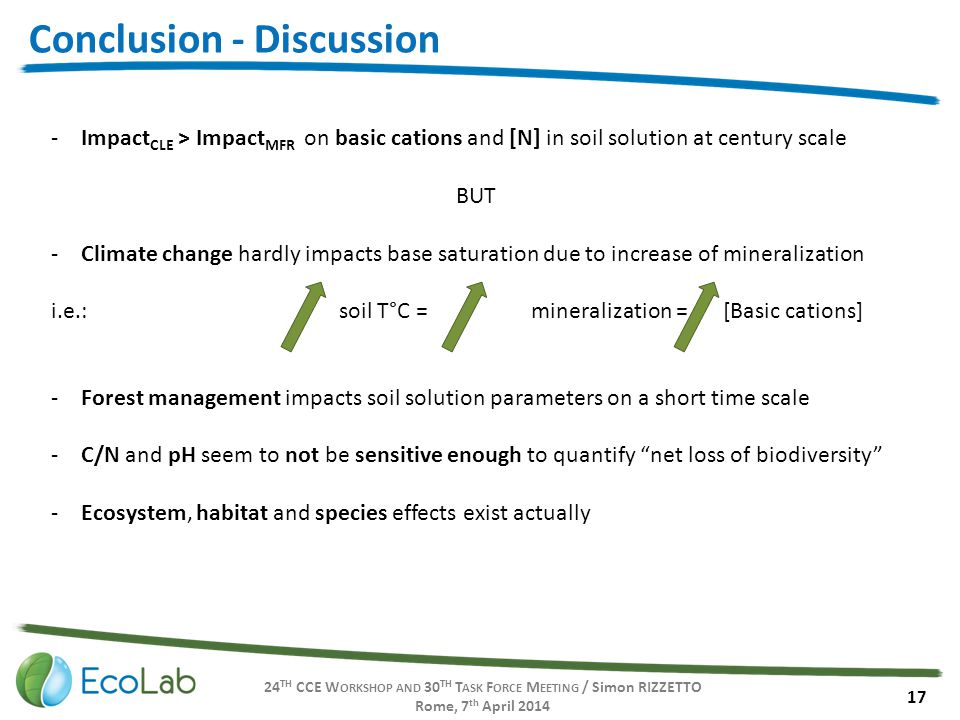 24 TH CCE W ORKSHOP AND 30 TH T ASK F ORCE M EETING / Simon RIZZETTO Rome, 7 th April 2014 17 Conclusion - Discussion -Impact CLE > Impact MFR on basic cations and [N] in soil solution at century scale BUT -Climate change hardly impacts base saturation due to increase of mineralization i.e.:soil T°C =mineralization = [Basic cations] -Forest management impacts soil solution parameters on a short time scale -C/N and pH seem to not be sensitive enough to quantify net loss of biodiversity -Ecosystem, habitat and species effects exist actually