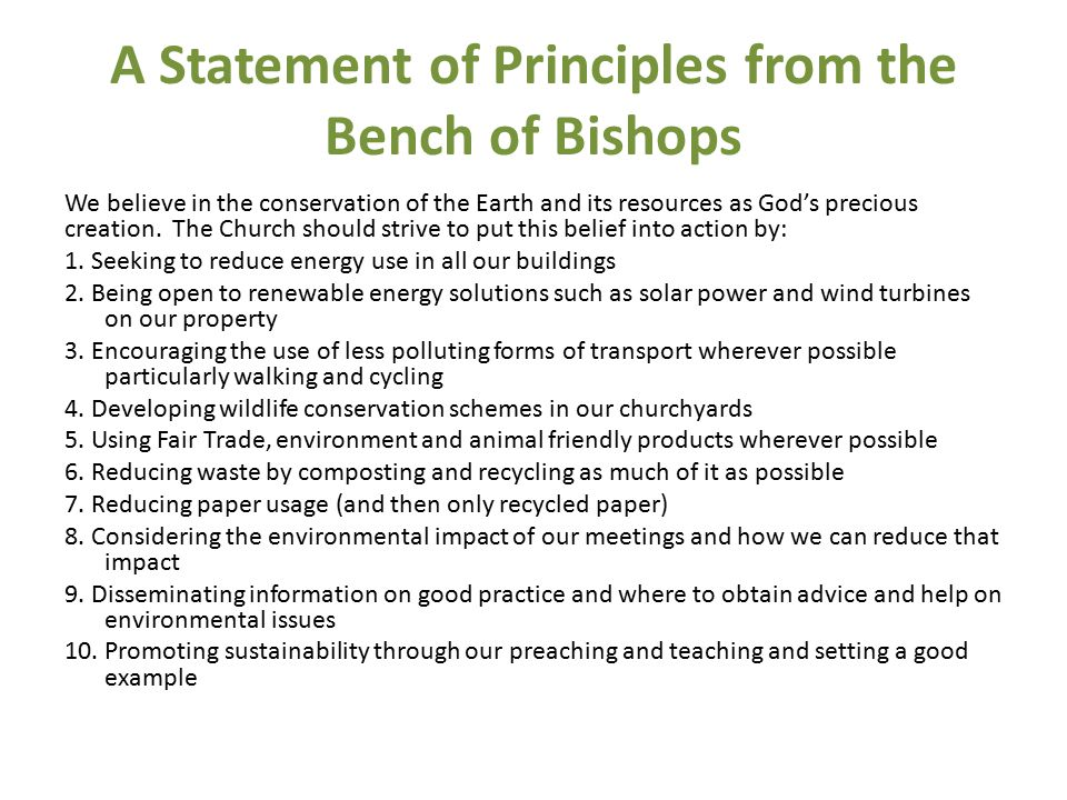 A Statement of Principles from the Bench of Bishops We believe in the conservation of the Earth and its resources as God's precious creation.