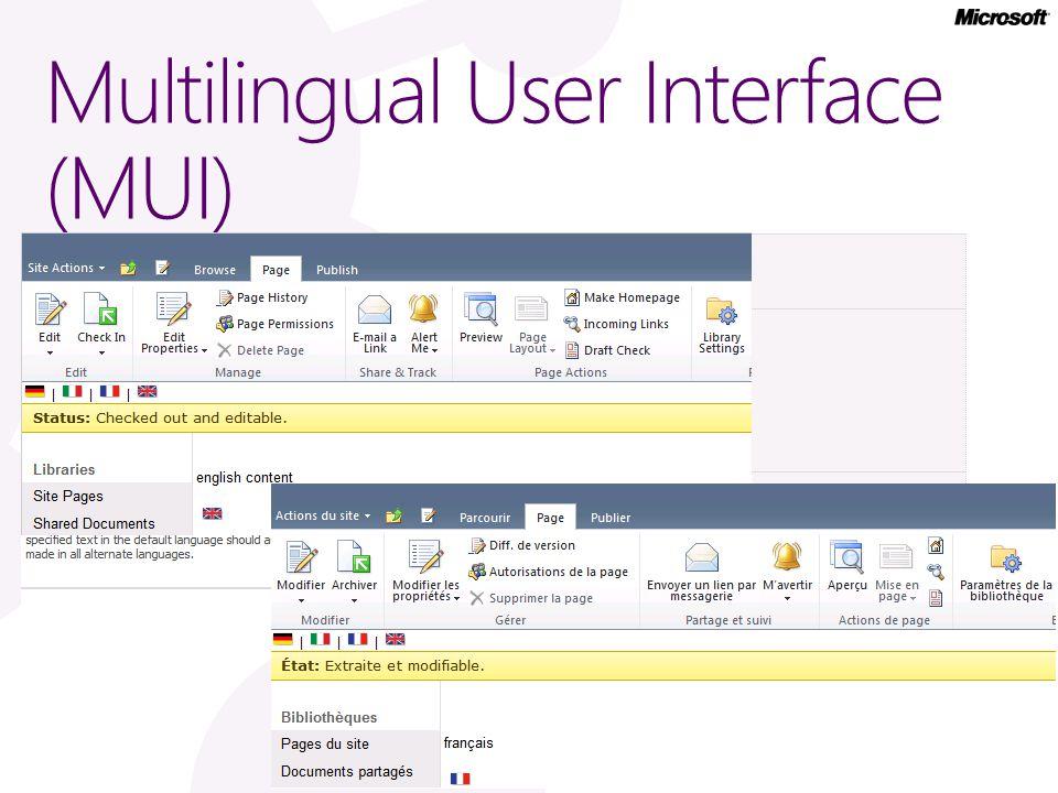 Multilingual User Interface (MUI)
