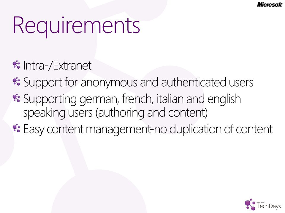Intra-/Extranet Support for anonymous and authenticated users Supporting german, french, italian and english speaking users (authoring and content) Easy content management-no duplication of content Requirements