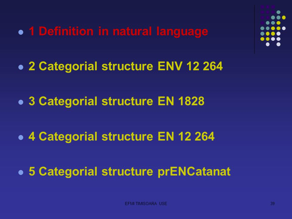 EFMI TIMISOARA USE39 1 Definition in natural language 2 Categorial structure ENV 12 264 3 Categorial structure EN 1828 4 Categorial structure EN 12 264 5 Categorial structure prENCatanat