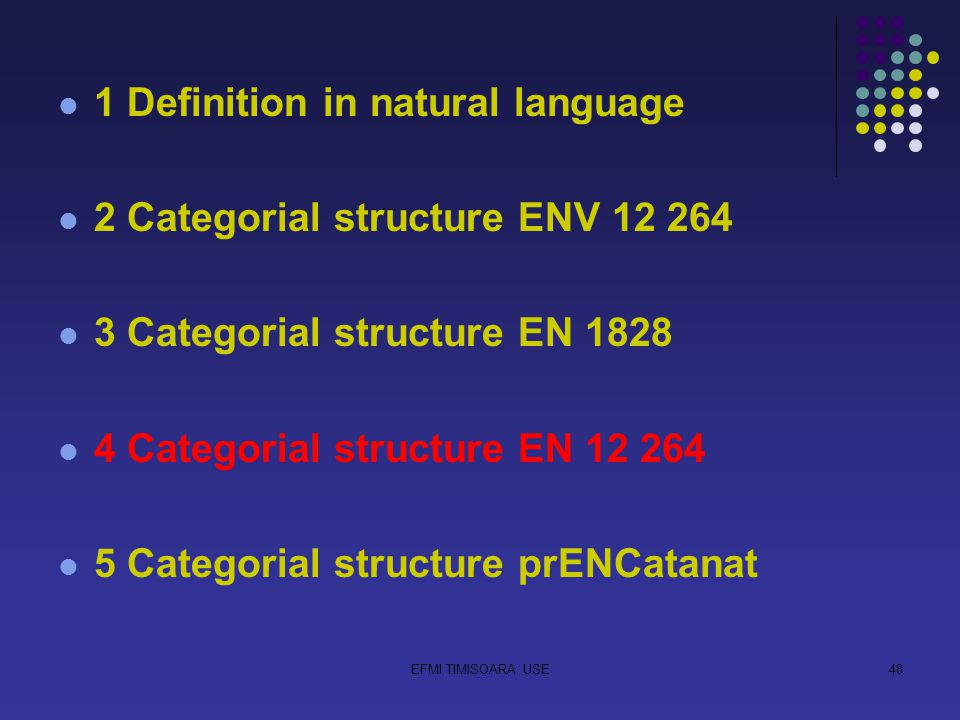 EFMI TIMISOARA USE48 1 Definition in natural language 2 Categorial structure ENV 12 264 3 Categorial structure EN 1828 4 Categorial structure EN 12 264 5 Categorial structure prENCatanat