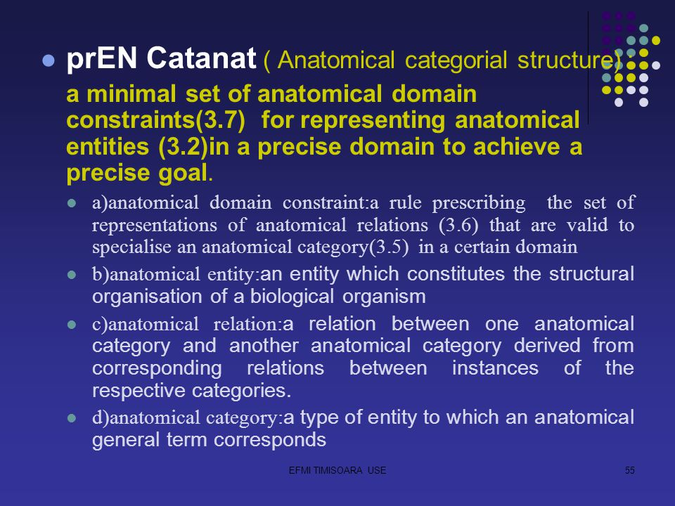 EFMI TIMISOARA USE55 prEN Catanat ( Anatomical categorial structure) : a minimal set of anatomical domain constraints(3.7) for representing anatomical