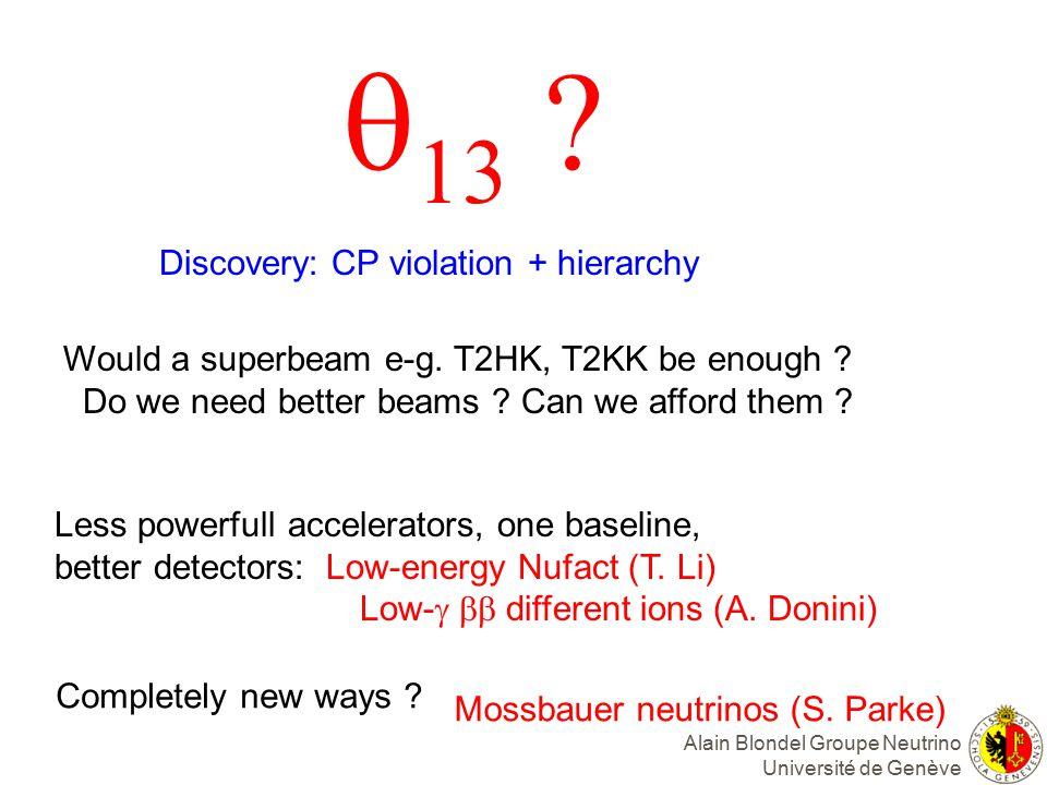 Alain Blondel Groupe Neutrino Université de Genève    Would a superbeam e-g.