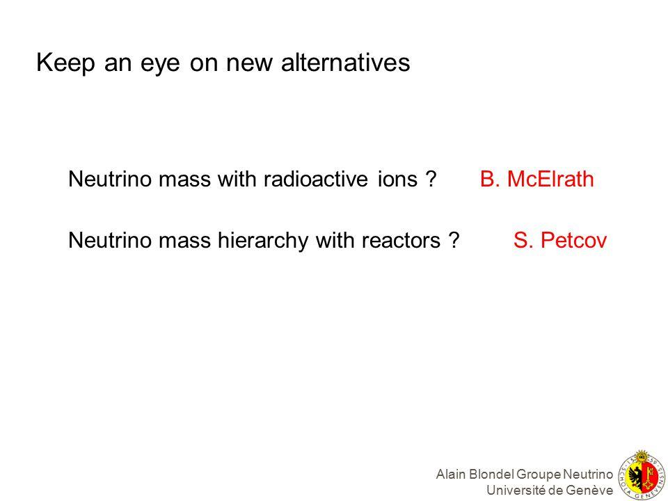 Keep an eye on new alternatives Neutrino mass with radioactive ions .
