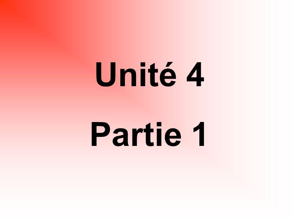 Unité 4 Partie 1