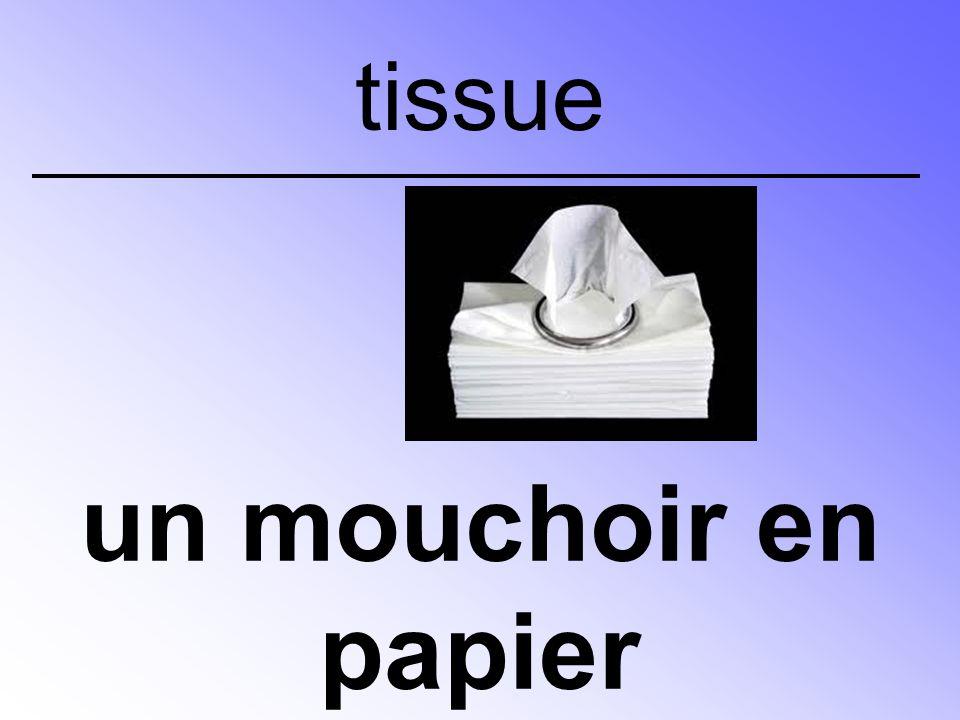 un mouchoir en papier tissue