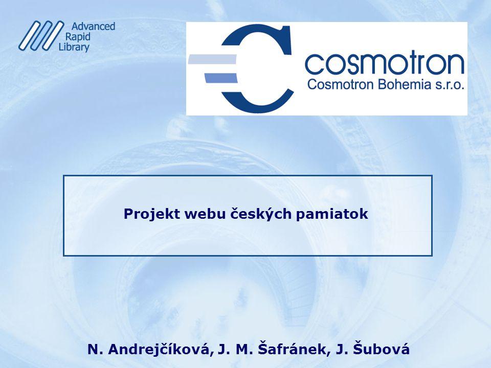 Úvod Kto somNadežda Andrejčíková Kde pracujemspoločnosť Cosmotron Slovakia&Bohemia Čo robíme IS pre pamäťové inštitúcie Prečo som tuProjekt webu českých pamiatok
