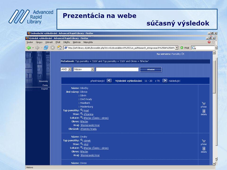 Prezentácia na webe súčasný výsledok