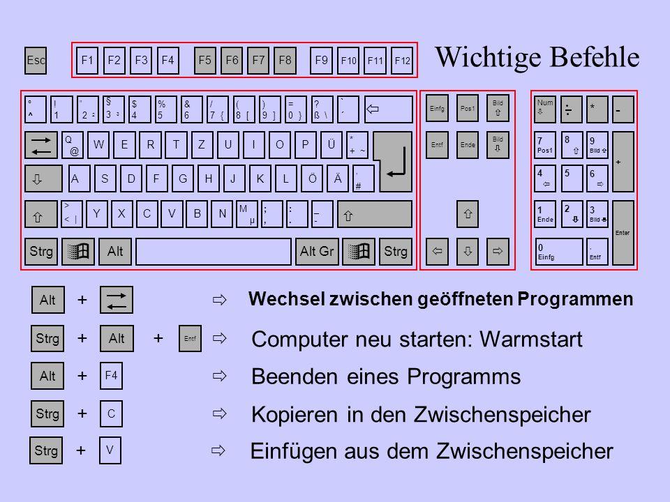 """StrgAlt Entf ++  Computer neu starten: Warmstart Alt + F4  Beenden eines Programms Strg C +  Kopieren in den Zwischenspeicher Strg + V  Einfügen aus dem Zwischenspeicher Alt + Wechsel zwischen geöffneten Programmen  Wichtige Befehle EscF1F2F3F4F5F6F7F8F9 F10F11F12 WRTZUIOPÜ °^°^ !1!1  """" 2 2 &6&6 $4$4 %5%5 / 7 { ( 8 [ ) 9 ] = 0 } ."""
