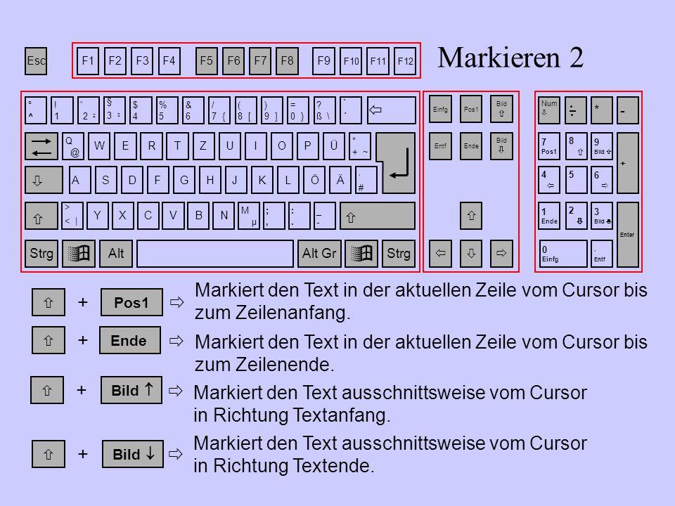  Markiert den Text in der aktuellen Zeile vom Cursor bis zum Zeilenende.