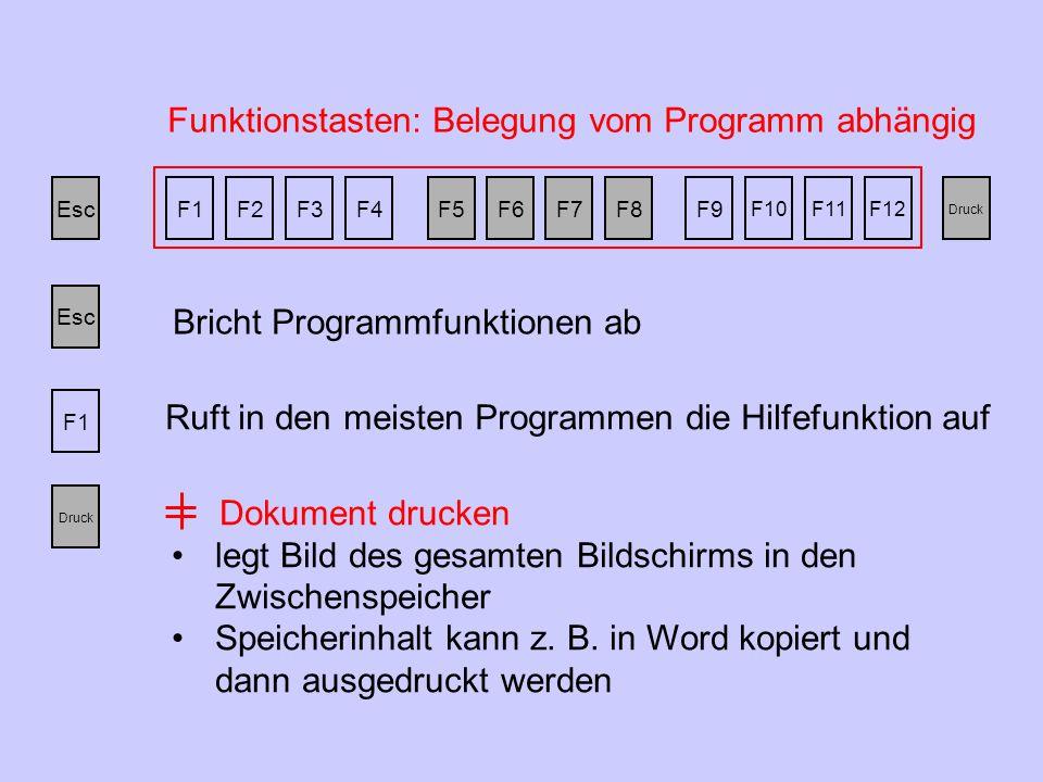 EscF1F2F3F4F5F6F7F8F9 F10F11F12 Druck Funktionstasten: Belegung vom Programm abhängig Bricht Programmfunktionen ab Esc F1 Ruft in den meisten Programmen die Hilfefunktion auf Druck Dokument drucken legt Bild des gesamten Bildschirms in den Zwischenspeicher Speicherinhalt kann z.
