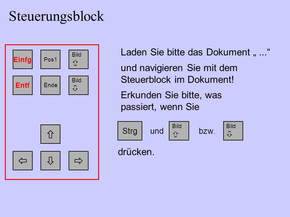 """Einfg Bild  Pos1 Bild  Ende Entf   Laden Sie bitte das Dokument """"... und navigieren Sie mit dem Steuerblock im Dokument."""