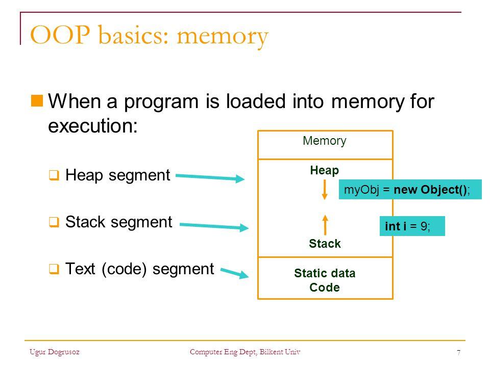 8 OOP basics: memory Ugur DogrusozComputer Eng Dept, Bilkent Univ class Node { Object data; Node next; } class List { private Node first; public Object getFirst() {return(first.data);} public void insertFront(Object newElement) {...