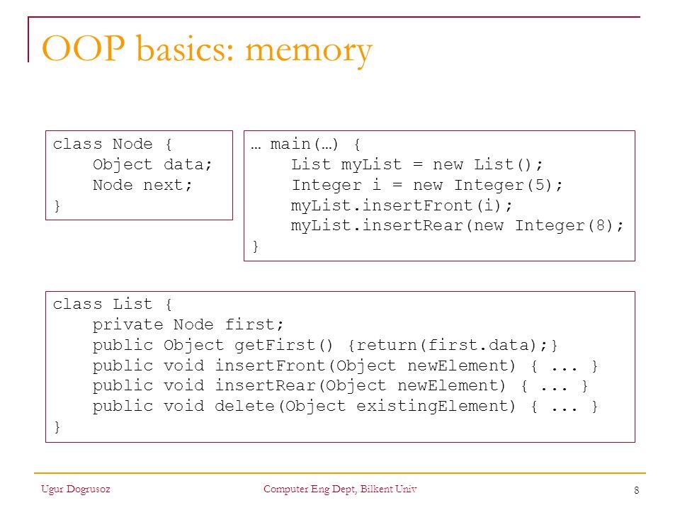 9 OOP basics: memory Ugur DogrusozComputer Eng Dept, Bilkent Univ class Node { Object data; Node next; } class List { private Node first; public Object getFirst() {return(first.data);} public void insertFront(Object newElement) {...