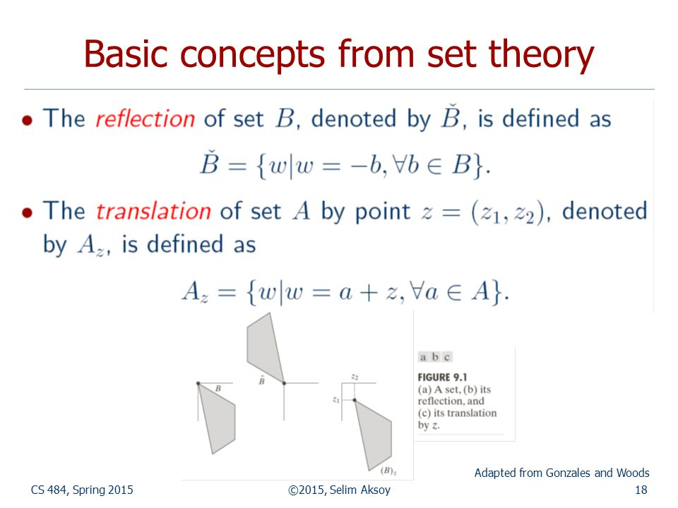 CS 484, Spring 2015©2015, Selim Aksoy18 Basic concepts from set theory Adapted from Gonzales and Woods