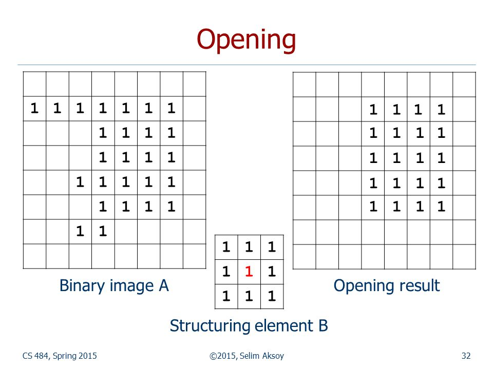 CS 484, Spring 2015©2015, Selim Aksoy32 Opening Structuring element B Opening result 1111111 1111 1111 11111 1111 11 111 111 111 11 11 11 1111 11 11 1