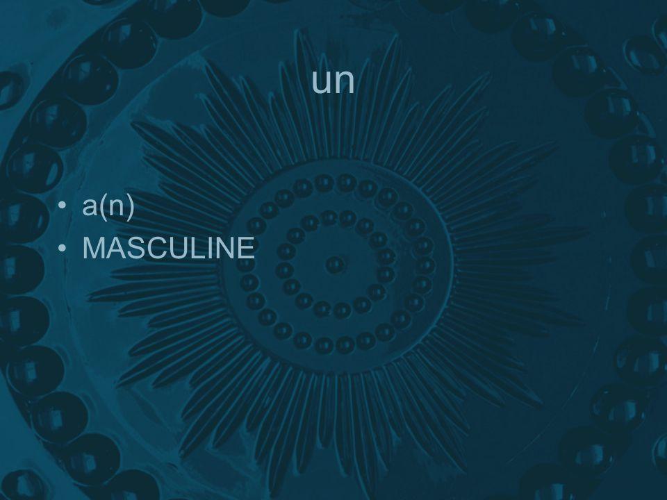 un a(n) MASCULINE