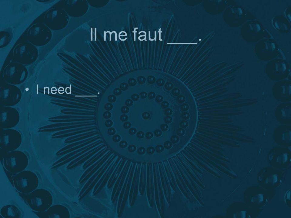 Il me faut ___. I need ___.