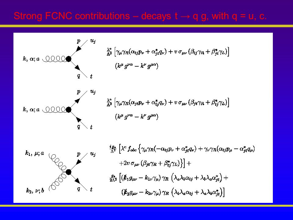 Strong FCNC contributions – decays t → q g, with q = u, c.