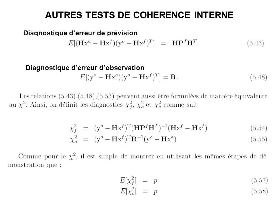 Diagnostique d'erreur de prévision Diagnostique d'erreur d'observation AUTRES TESTS DE COHERENCE INTERNE