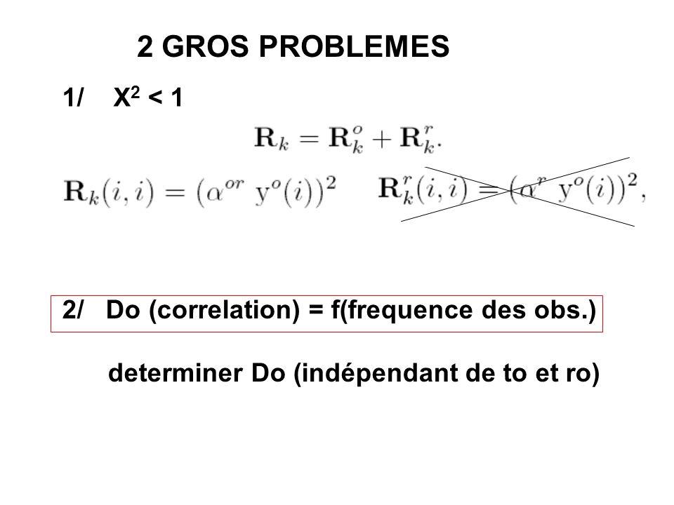 2 GROS PROBLEMES 1/ X 2 < 1 2/ Do (correlation) = f(frequence des obs.) determiner Do (indépendant de to et ro)